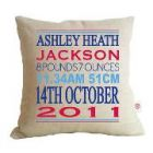 personalised LINEN cushions - Birth Details Cushions