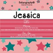 Babyography� Name Frame - Pink and Teal (19 cm x 19 cm)