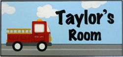 Personalised Name Plaque for kids wall or door Fire Truck