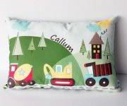 .Personalised Cushion for kids - Boys - Truck Convoy