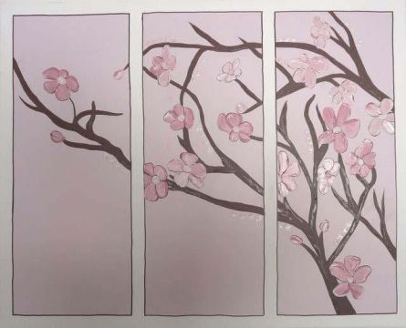 Artwork Childrens Room Decor - Japanese Blossom Kids Wall Art Canvas