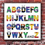 Avengers Alphabet canvas for kids wall art - Square white background