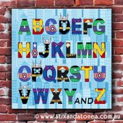Avengers Alphabet canvas for kids wall art - Square with background