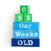 Baby Age Milestone Blocks - record your babys age in photos GREEN, AZURE AND NAVY