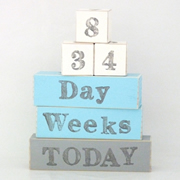 Baby Age Milestone Blocks - record your babys age in photos CREAM ICE BLUE AND GREY