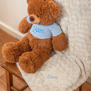 Baby Blanket Personalised Cream  - Blue