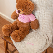 Baby Blanket Personalised Cream  - Pink