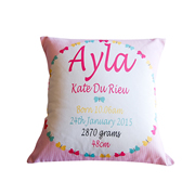 Personalised Birth Cushion for New Baby Girl - Butterfly