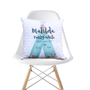 Personalised Birth Cushion for New Baby Girl - Floral Tee Pee