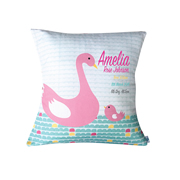 Personalised Birth Cushion for New Baby Girl - Pink Swan