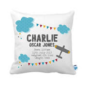 Personalised Birth Cushion for New Baby Boy - Flying High