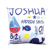 Personalised Birth Cushion for New Baby Boy - Nautical Inspired