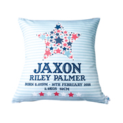 Personalised Birth Cushion for New Baby - Baby Boy - Blue Star