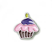 Food Charm for Floating Memory Locket - Purple Cupcake with Candle