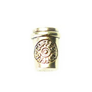 Food Charm for Floating Memory Locket - Take Away Coffee Cup Gold Tone