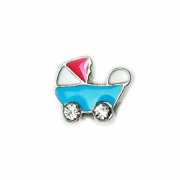 Children Charm for Floating Memory Locket - Blue Pram with Pink Top