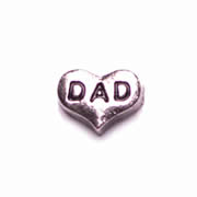 Family Charm for Floating Memory Locket - Dad Heart
