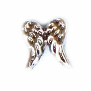 Faith Charm for Floating Memory Locket - Double Angel Wing Silver Tone