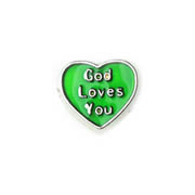 Faith Charm for Floating Memory Locket - God loves you Green Heart