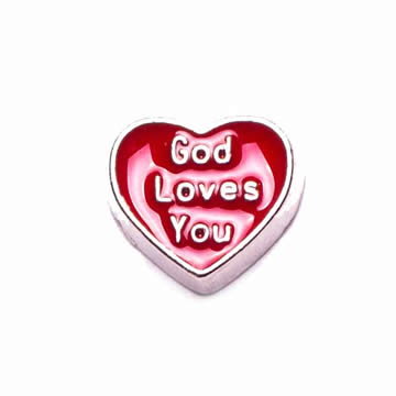 Faith Charm for Floating Memory Locket - God Loves You Heart