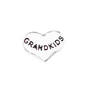Family Charm for Floating Memory Locket - Grandkids - Silver Tone Heart