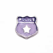 Occupations Charm for Floating Memory Locket - Police Badge