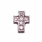 Faith Charm for Floating Memory Locket - Silver Cross with Sparkles