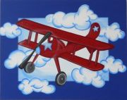 Arwork Childrens Room Decor - Red Baron Kids Wall Art Canvas