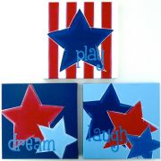 Artwork Childrens Room Decor - Star Words Inspiration Canvas Kids Wall Art Canvas (Set of 3)