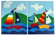 Artwork Childrens Room Decor - Sailboats Kids Wall Art Canvas (Set of 2)