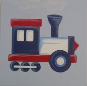 Artwork Childrens Room Decor - Travel Rail - Red Kids Wall Art Canvas