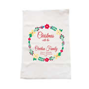 Personalised Christmas Tea Towel - Christmas Floral Wreath