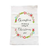 Personalised Christmas Tea Towel - Queen of Christmas Feas