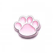 Animal Charm for Floating Memory Locket - Dog Paw - Pink
