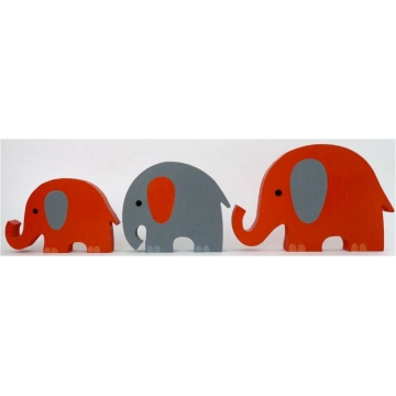Wooden Block Freestanding <br><b>elephant set of 3 <br>ORANGE/CHOCOLATE<BR>(mixed trunks)</b>