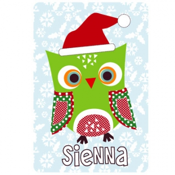 Personalised Clothing<br>Christmas Owl Design<br><font size=&nbsp;-3&nbsp; face=&nbsp;Times&nbsp;>Available in a t-shirt, bib, bodysuit, singlet, apron, santa sack, library bag & shoulder bag</font>