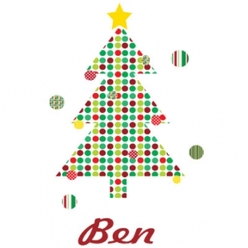 Personalised Clothing<br>Christmas Tree Design<br><font size=&nbsp;-3&nbsp; face=&nbsp;Times&nbsp;>Available in a t-shirt, bib, bodysuit, singlet, apron, santa sack, library bag & shoulder bag</font>