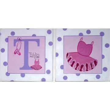 Personalised Kids Name Canvas Wall Art Canvas Name Plaque Handpainted Ballet (Set of 2)