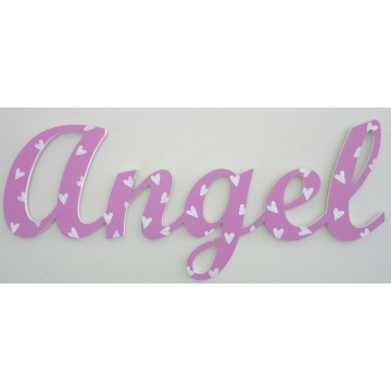 Scripted Name Plaque Wooden Letters for LARGE Fonts WITH A PAINTED PATTERN Starting from 3+ letters Pattern - Hearts