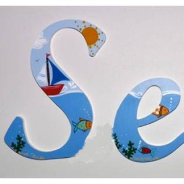 Alphabet Letters Handpainted<br>Choose your font & size<br>Themed - Sailboat Design