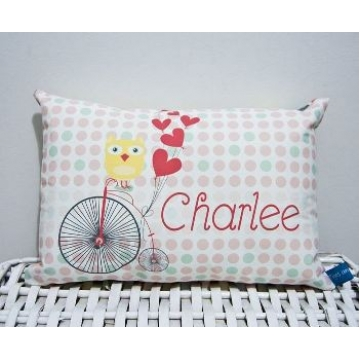 Mini Cushion<br>'Owl Sitting on Penny Farthing Landscape' Design<br><font size=&nbsp;-3&nbsp; face=&nbsp;Times&nbsp;>Personalised or Non-Personalised</font>