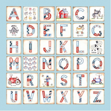 Canvas Alphabet - BOYS Farm<br>Avail. in 20 different colours