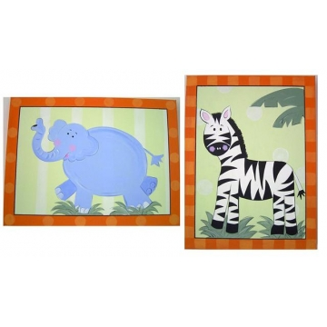 Artwork Childrens Room Decor Animal Jungle Set Orange Kids Wall Art Canvas (Set of 2)