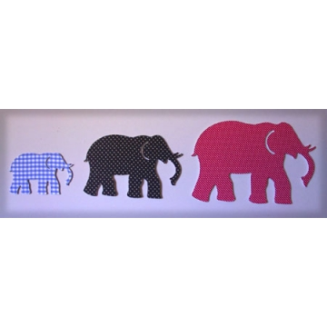 Wall Motifs - Animal Art Set 9<br>Elephants<br>Fabric Covered