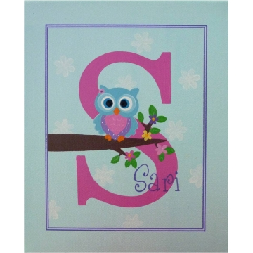 Personalised Kids Name Canvas Wall Art Canvas Name Plaque Handpainted Owl (Aqua and Pink)