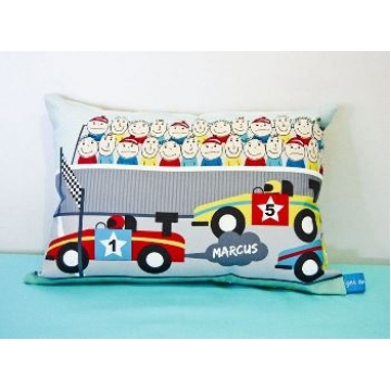 Mini Cushion<br>'Racing Car' Design<br><font size=&nbsp;-3&nbsp; face=&nbsp;Times&nbsp;>Personalised or Non-Personalised</font>