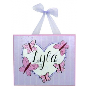 Name Plaque<br>'Pink Butterflies'