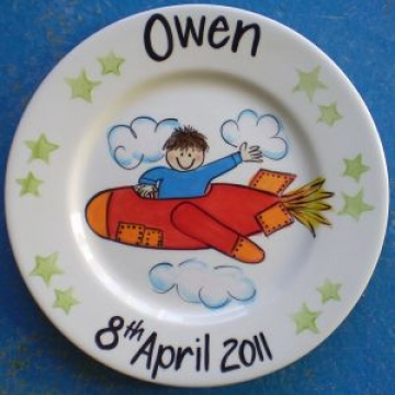Handpainted Plate - Boy in a Plane