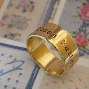 Ring Stamped Gold 9CT - Modern Love (two widths available 5mm or 10mm)