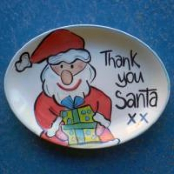 Handpainted Plate - Thank You Santa Present